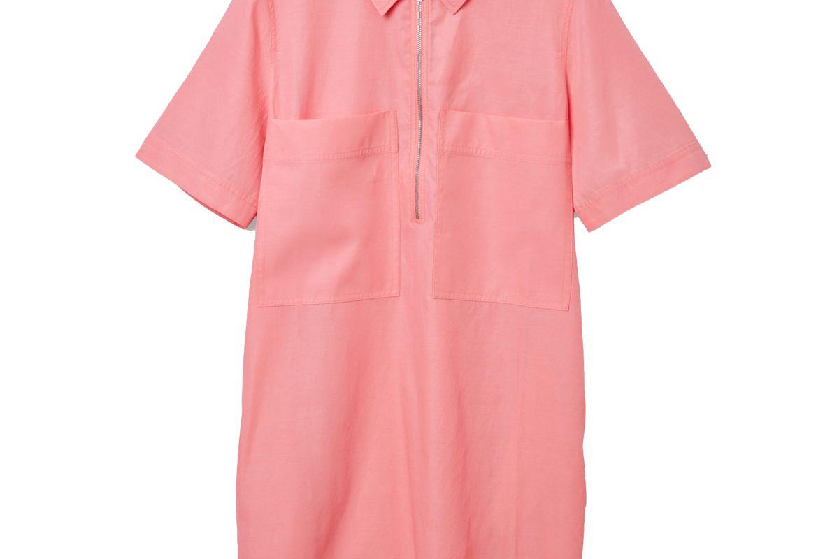 cos zip up cotton shirt dress