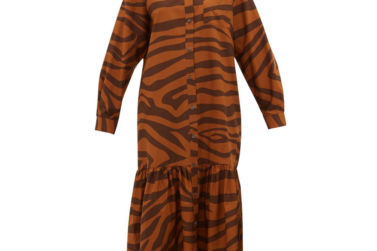 mara hoffman freda tiger print ruffle hem cotton maxi dress