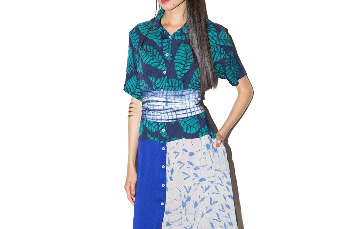 studio 189 navy green leaf block print hand batik silk midi shirt dress