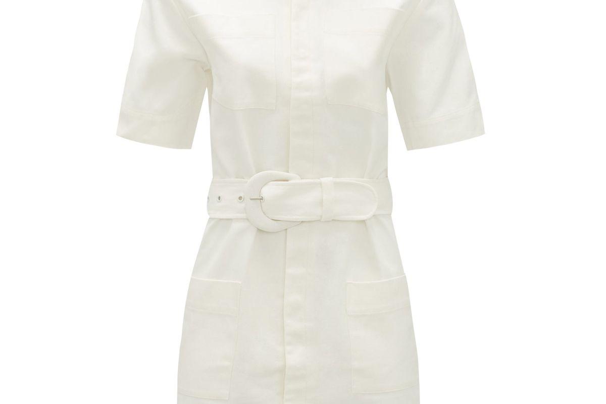 sir sabine belted cotton mini shirt dress