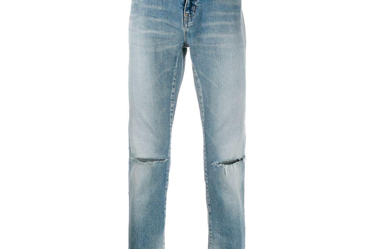 saint laurent distressed detail slim fit jeans