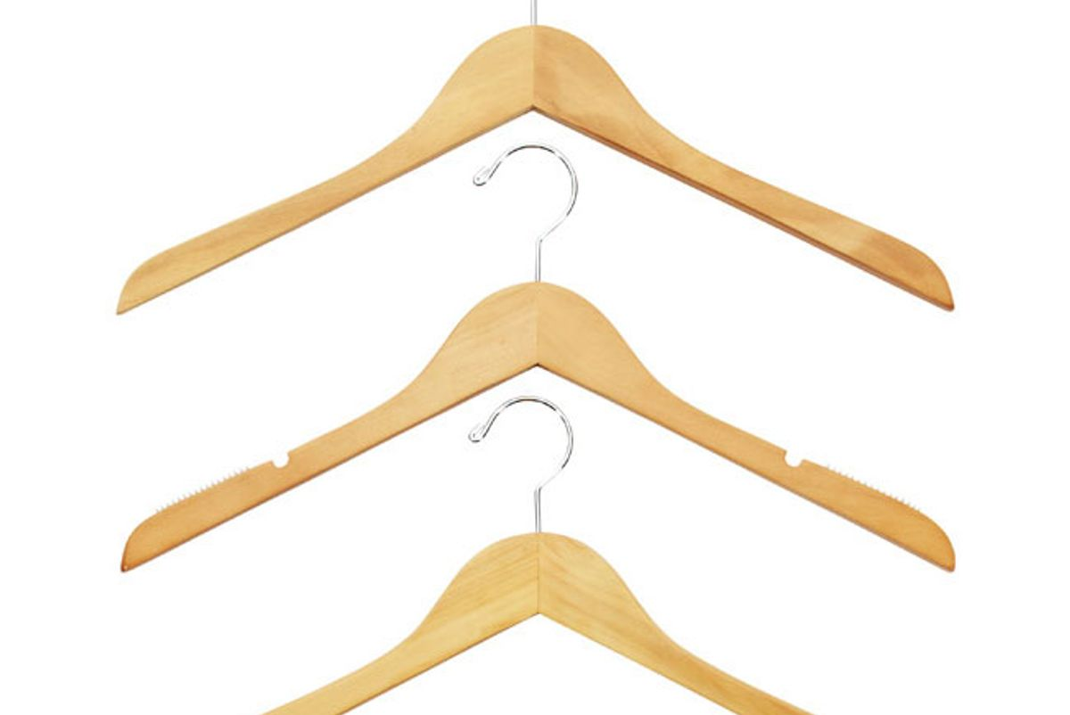 container store basic natural wooden hangers