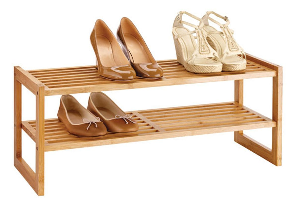 container store 2 tier bamboo stackable shoe shelf