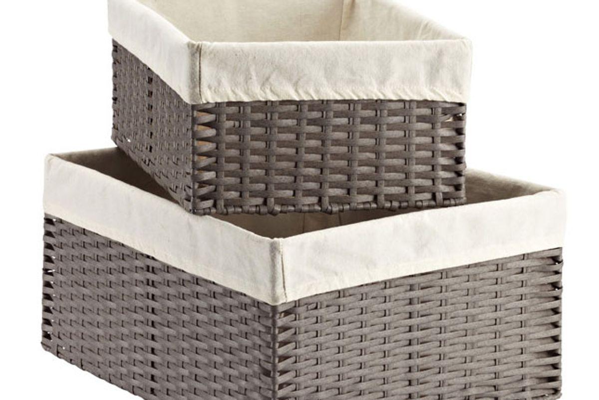 container store grey montauk woven rectangular storage bins
