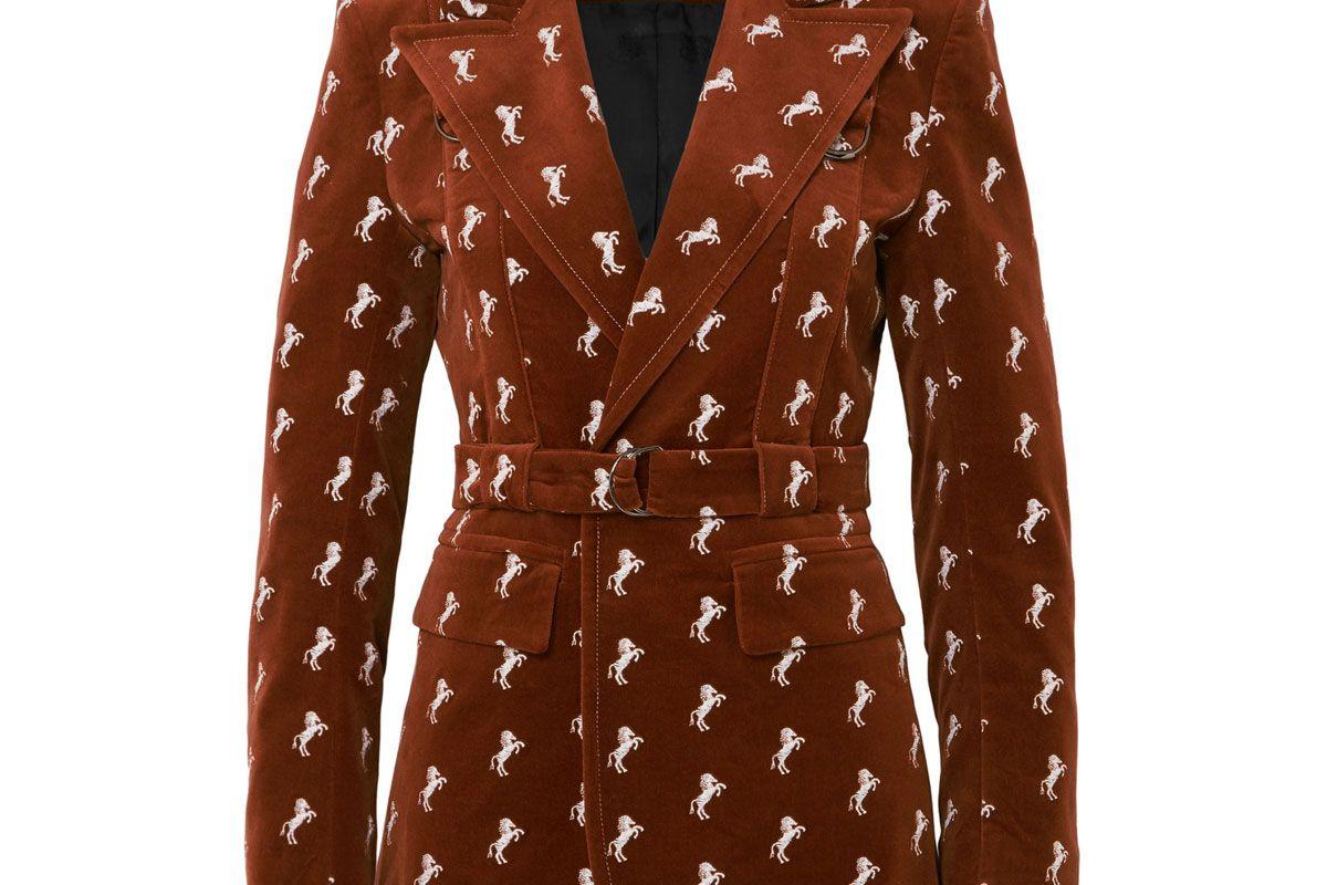 chloe embroidered cotton blend velvet blazer