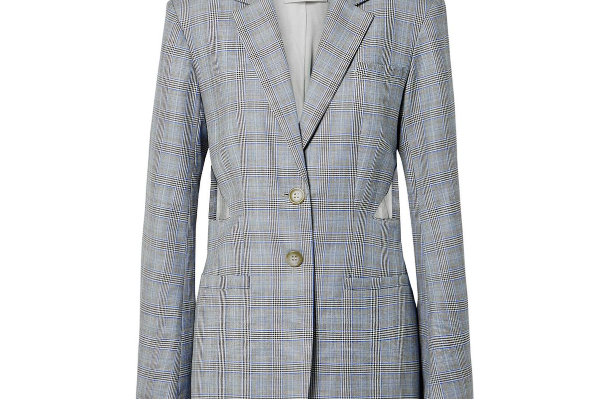 tibi cooper oversized cutout prince of wales checked wool and silk blend blazer
