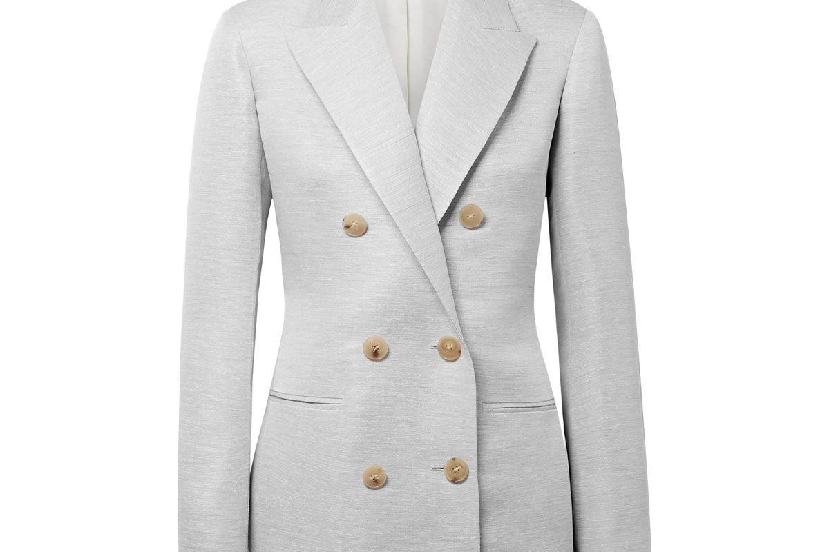 the row rupten melange silk and linen blend blazer