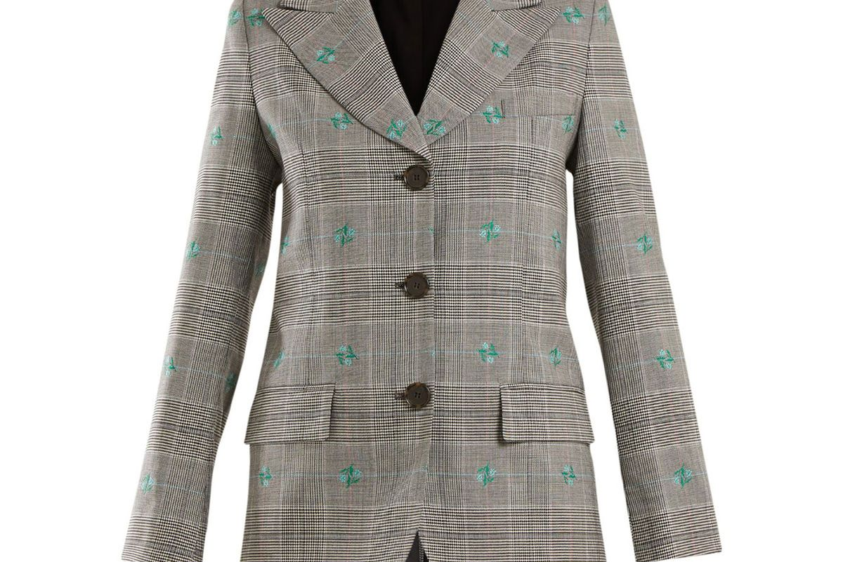 alexachung flower embroidered prince of wales checked blazer