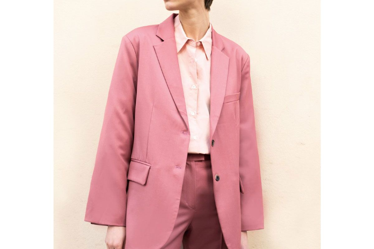 frankie shop dark pink single breasted blazer