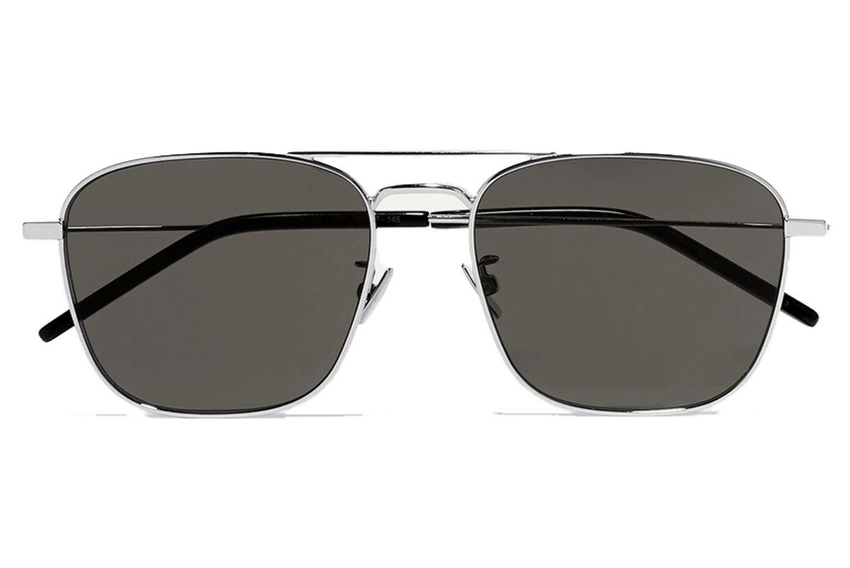 saint laurent aviator style silver tone sunglasses