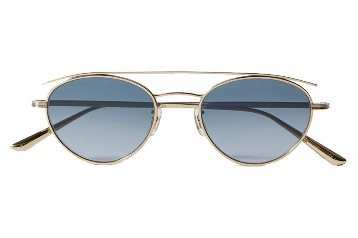 the row plus x peoples hightree round frame gold tone sunglasses