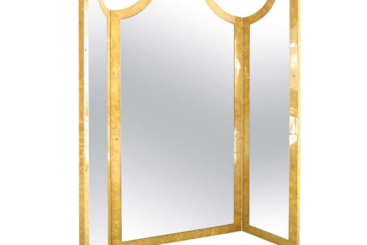 giorgio tura folding screens with mirror in lacquered wood