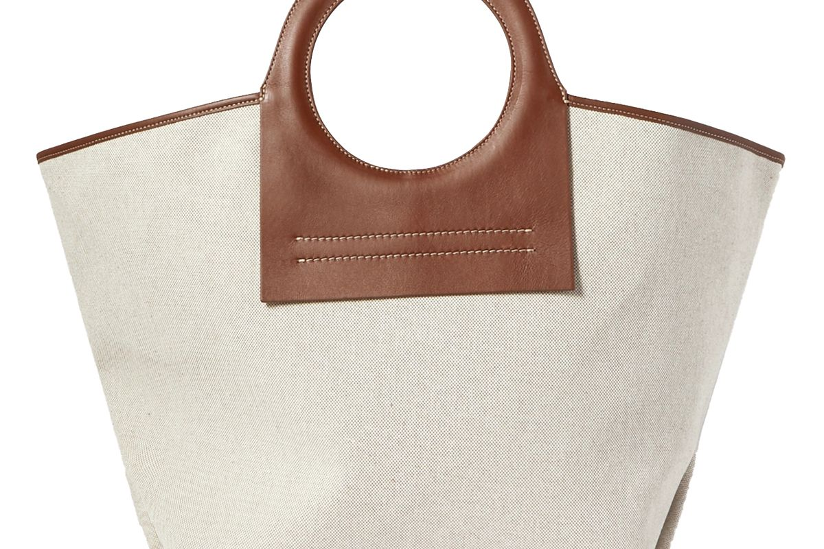 hereu net sustain cala large leather trimmed canvas tote