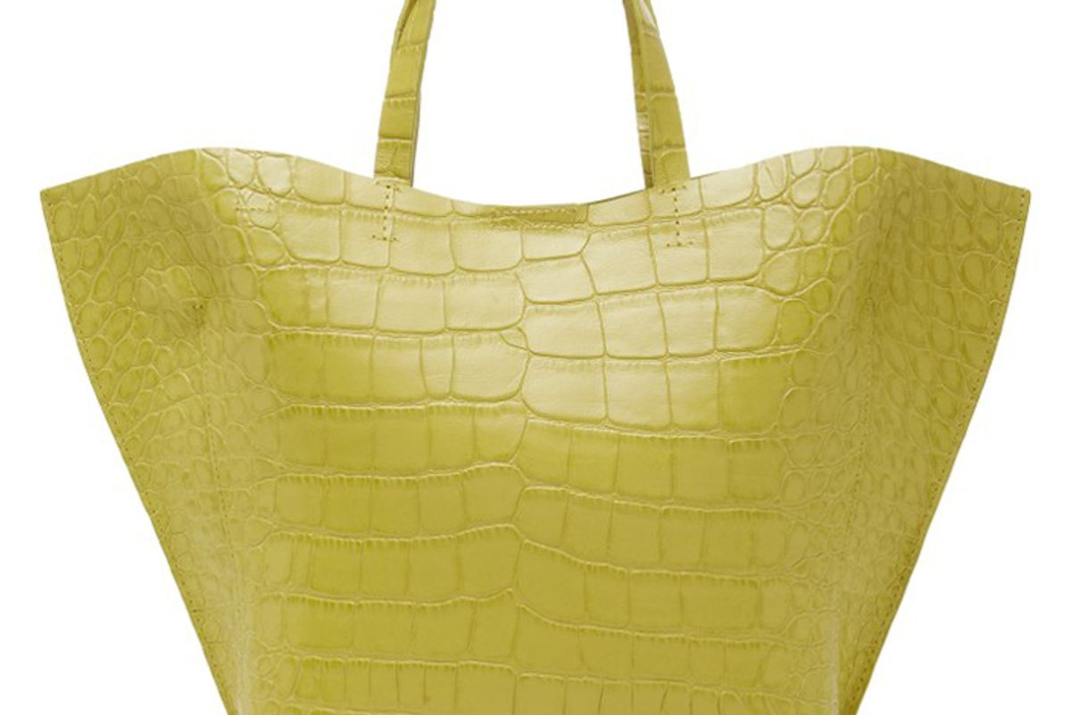 imago a croc embossed leather shell tote