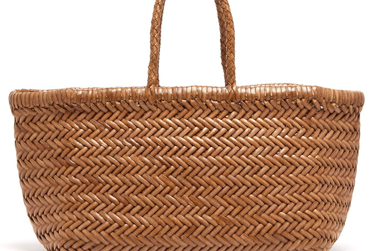 dragon diffusion tripple jump large woven leather basket bag