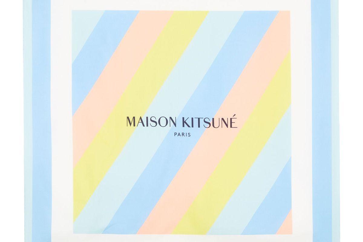 maison kitsune silk scarf rainbow stripes 68cm