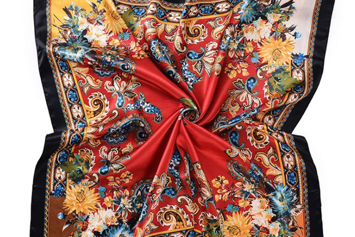 12th knit large satin scarf silky hair scarf floral neck scarves