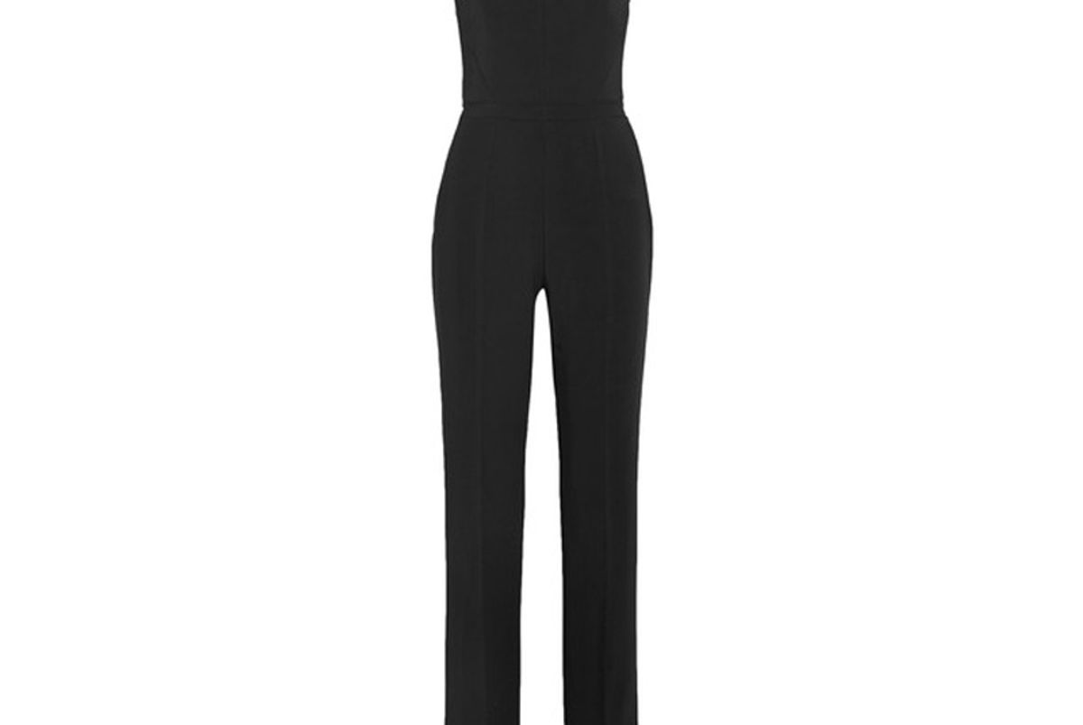 Chain-Embellished Stretch-Cady Jumpsuit