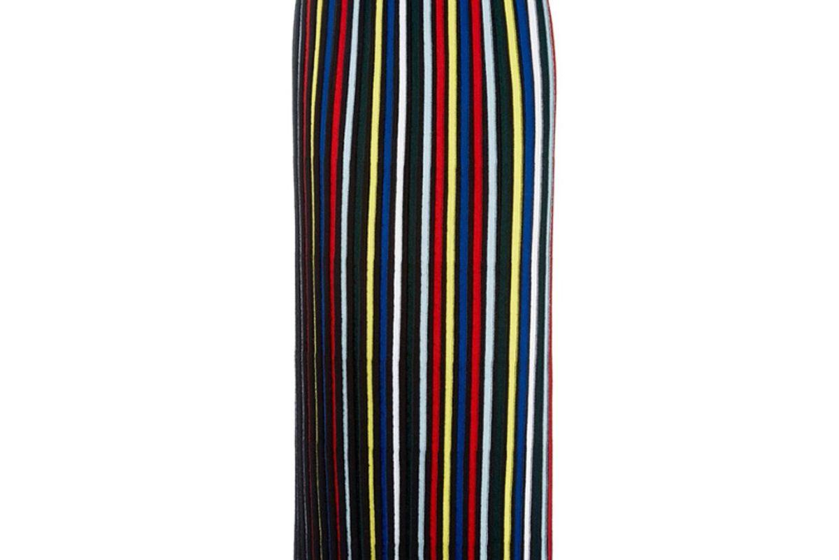 Pleated Stripe Knit Skirt