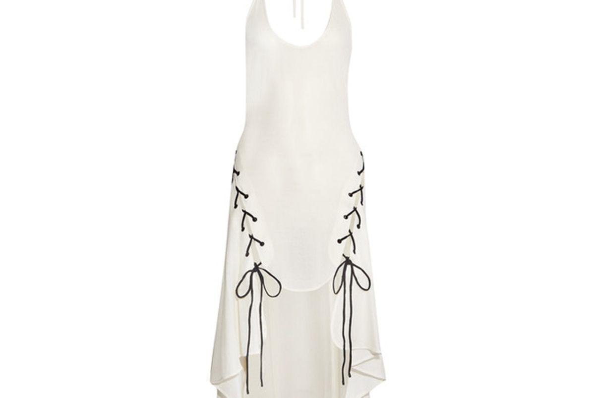 Lace-Up Woven Halterneck Dress
