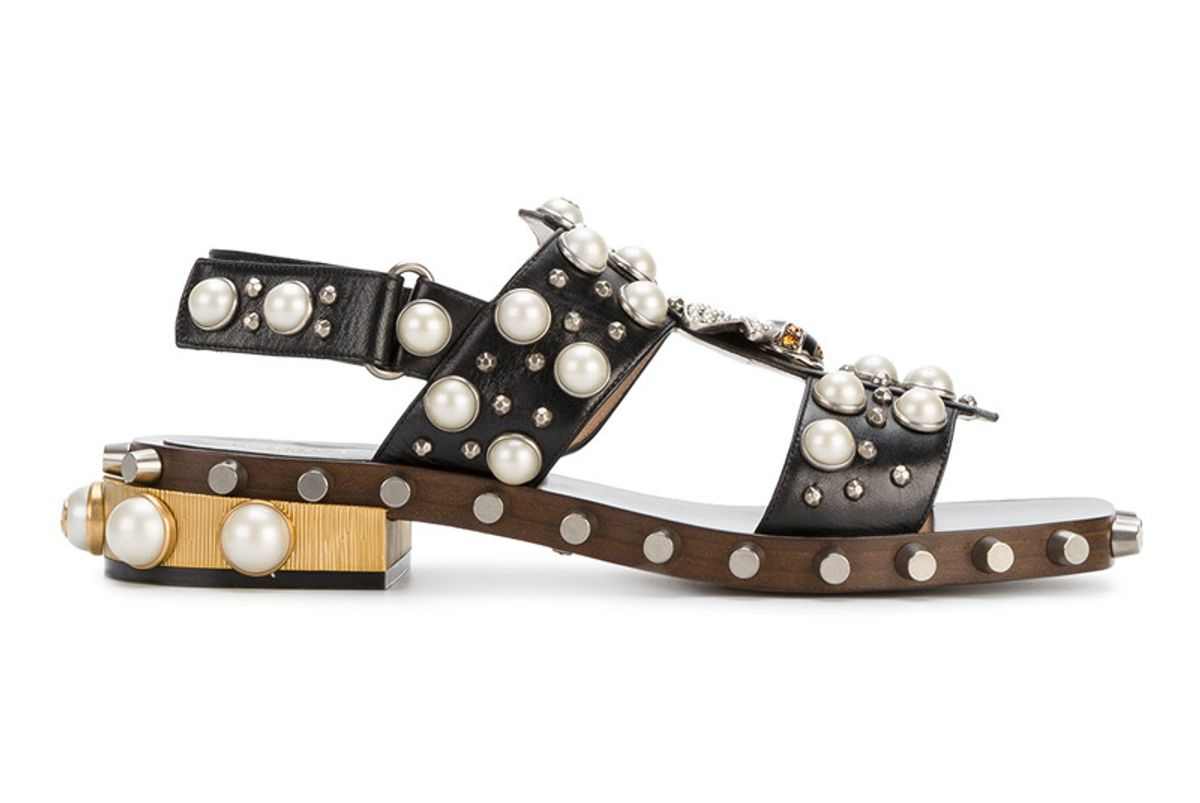 Pearl and Crystal Studded Sandals
