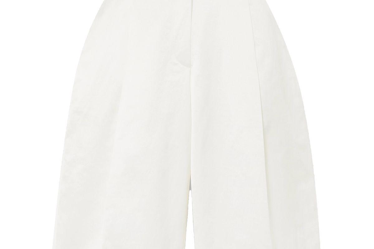 gauge81 louis pleated cotton blend shorts