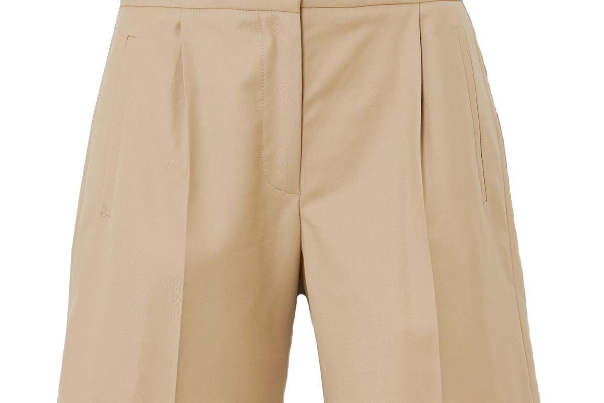 loulou studio bermuda pleated wool twill shorts