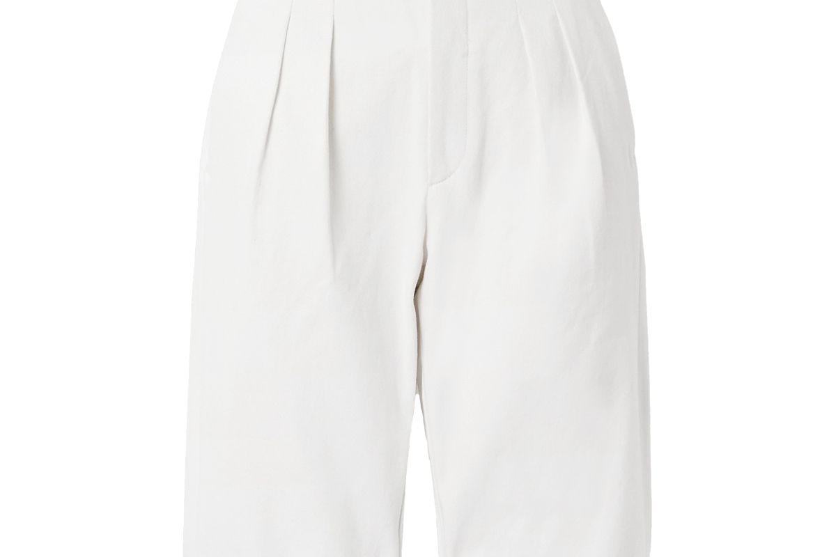 goldsign pedal pusher pleated denim shorts