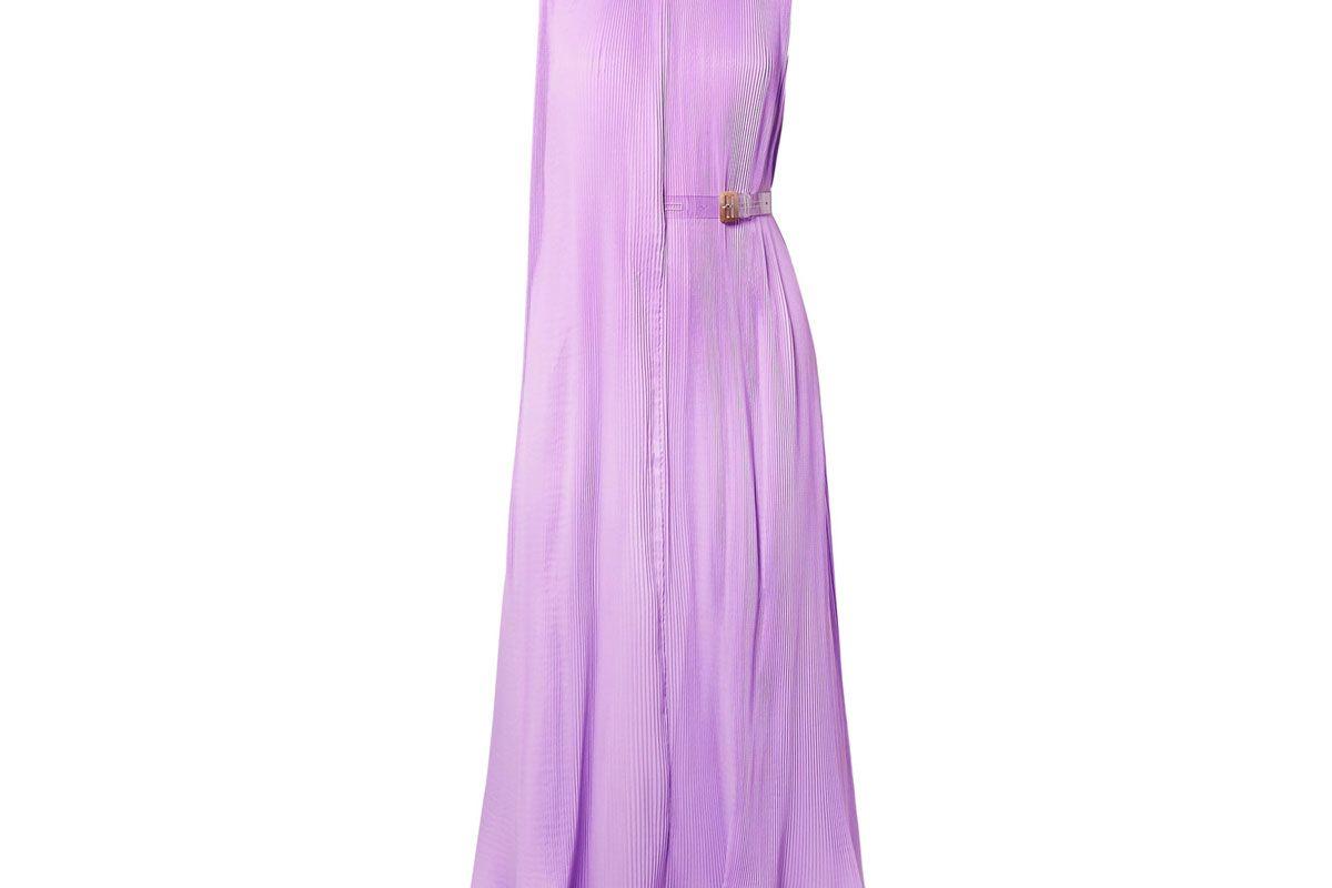 tibi ruffled plissé satin midi dress