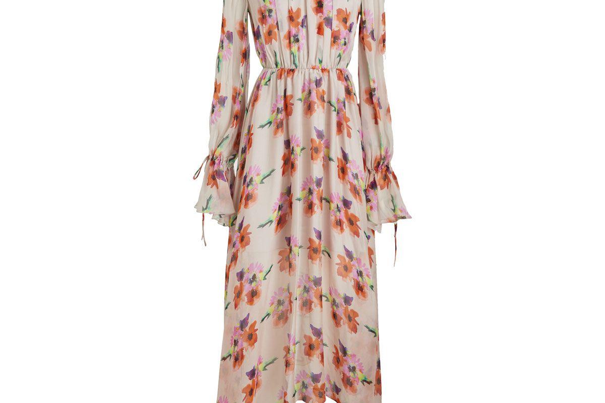msgm watercolour bouquet printed chiffon maxi dress