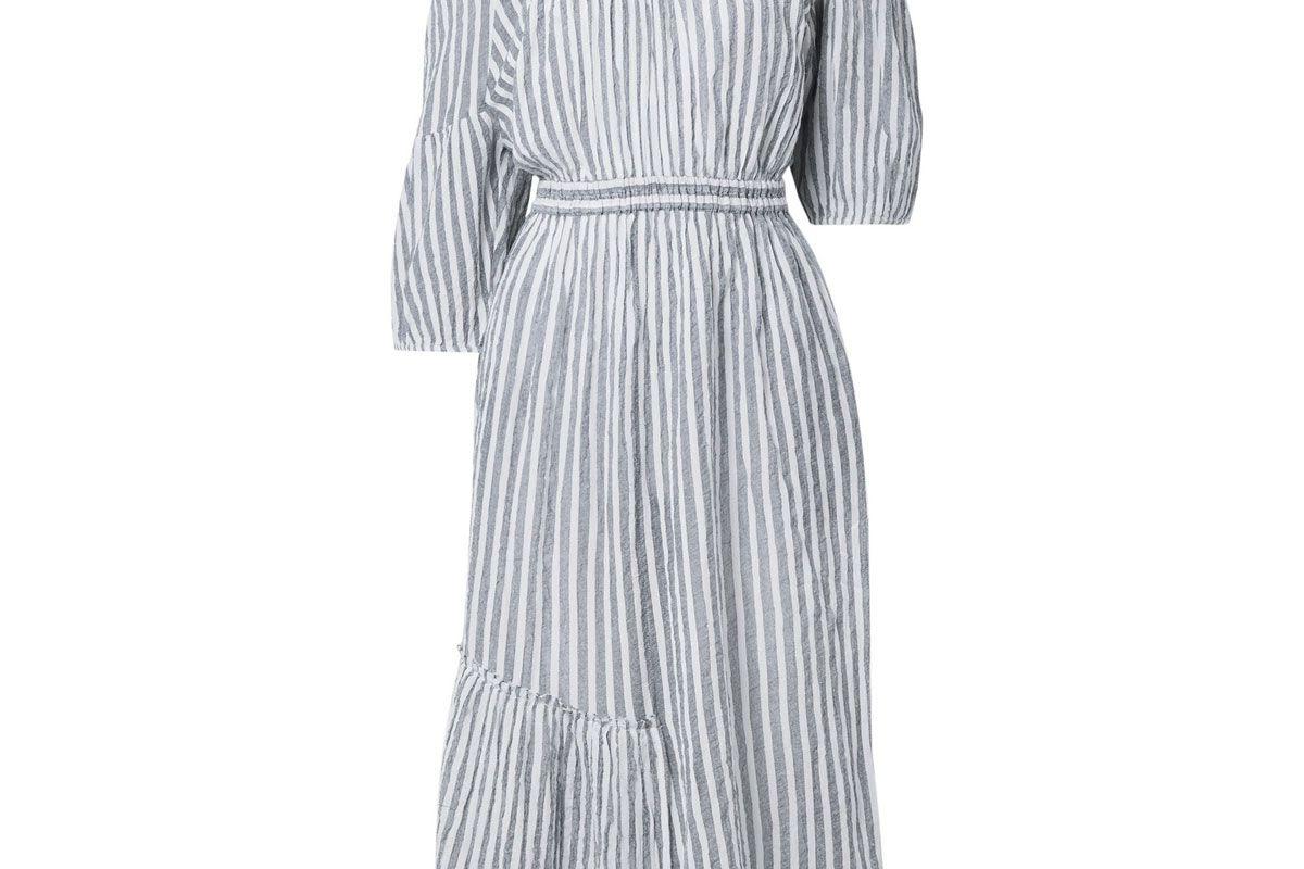 apiece apart camellia one-shoulder striped cotton-voile midi dress