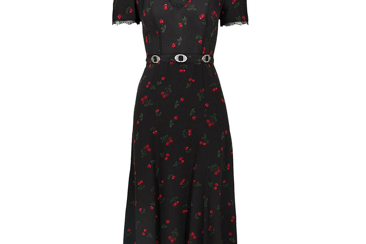 the kooples cherry-print silk and lace dress