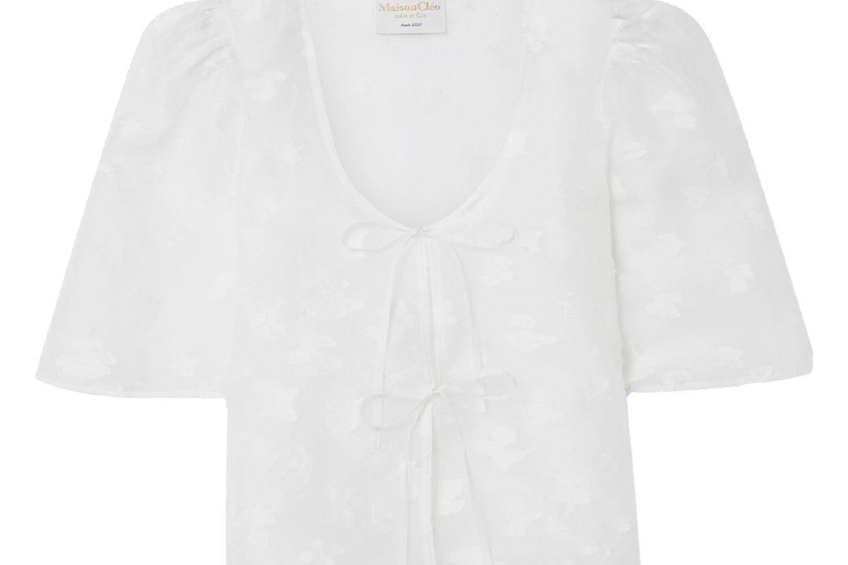 maisoncleo agnes silk and linen blend fil coupe organza blouse