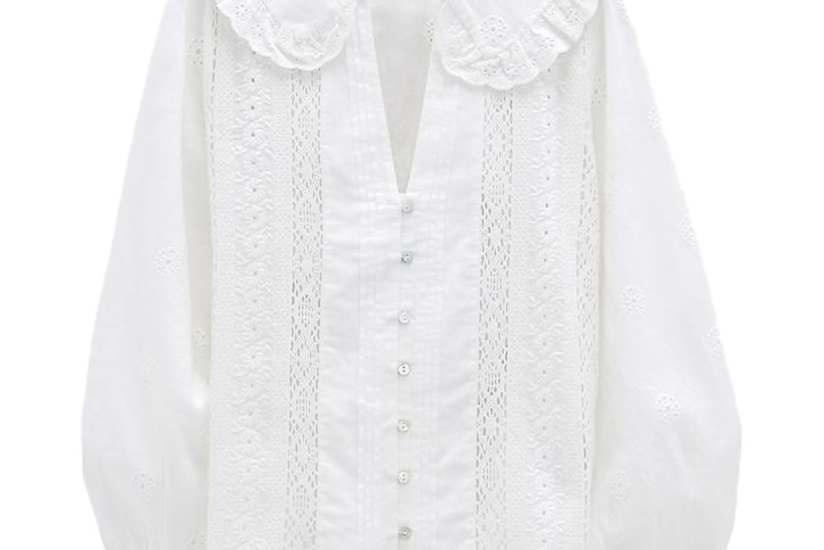 zara openwork embroidery shirt
