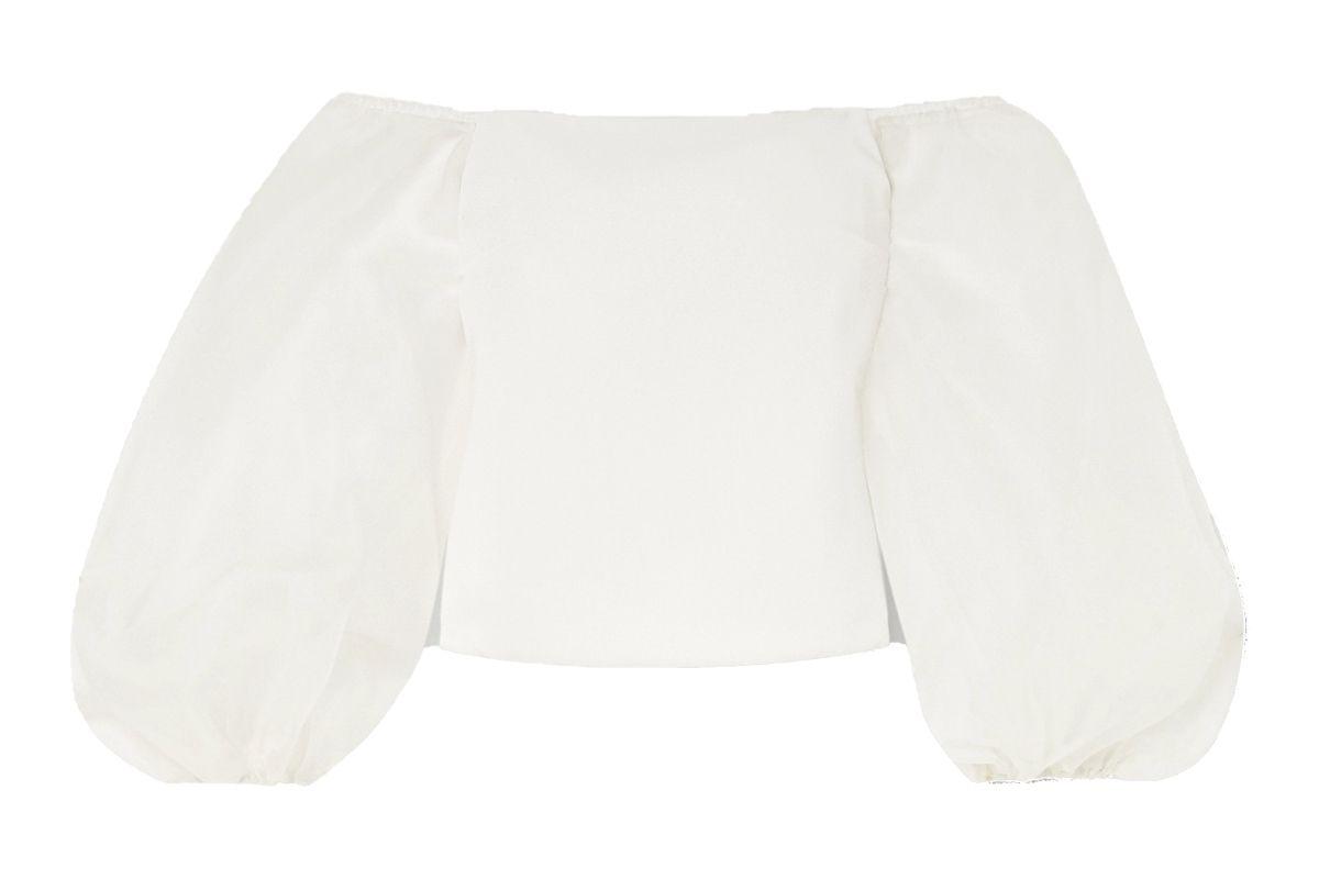 cushnie off the shoulder cady and silk organza top