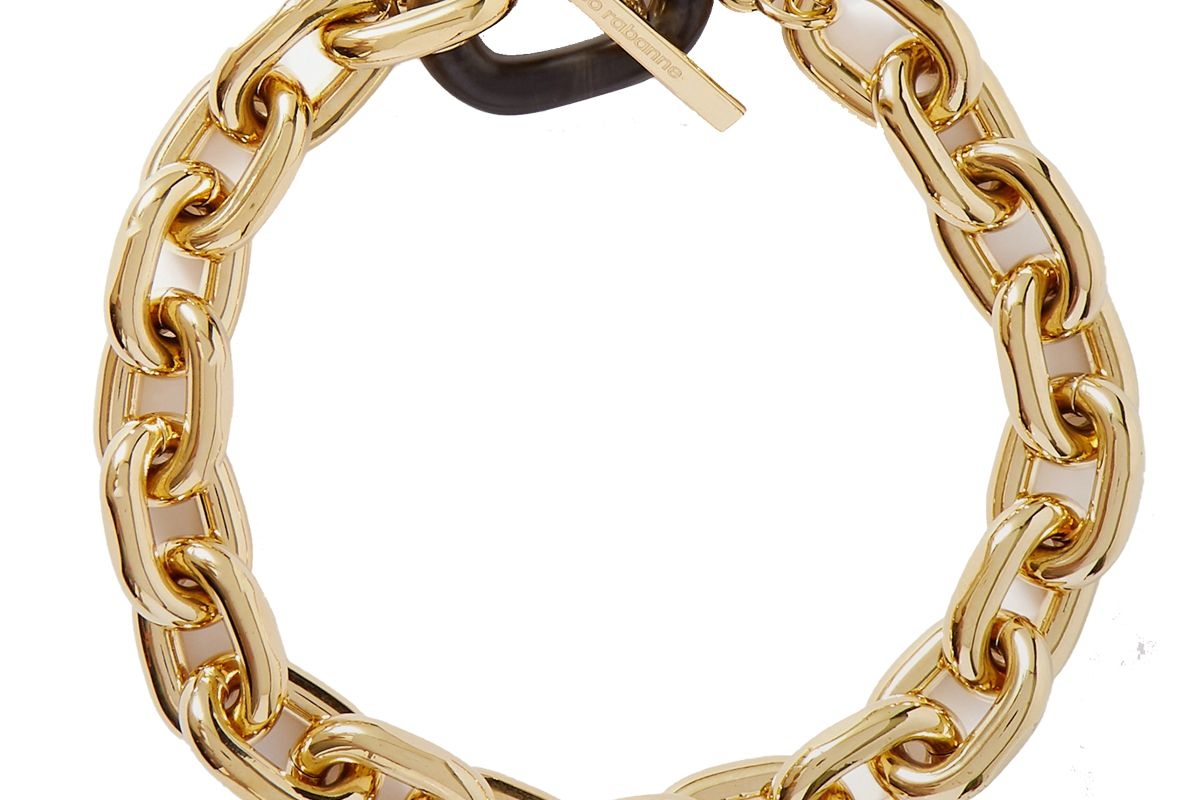 paco rabanne gold tone and acrylic necklace