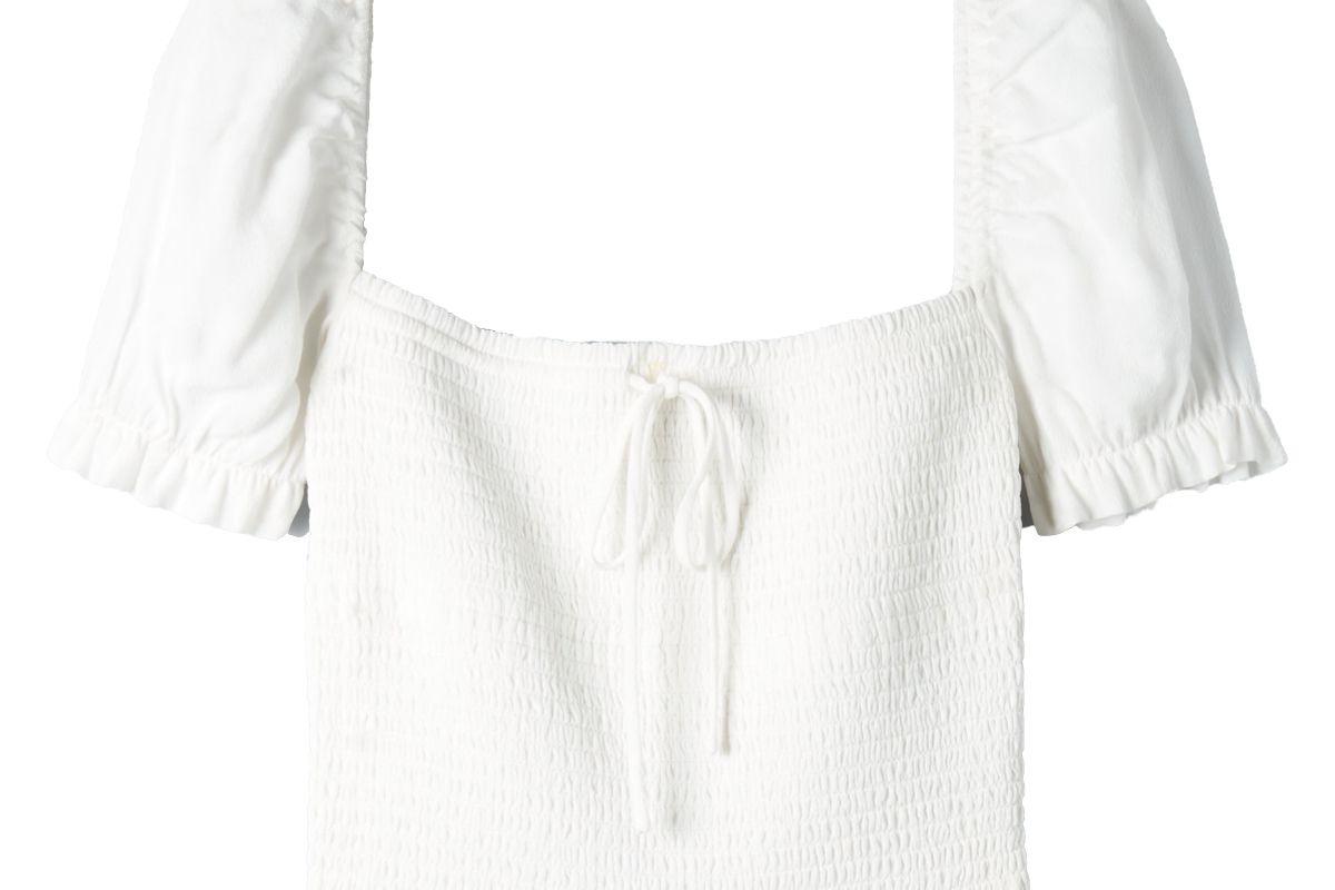 aritizia wilfred smocked blouse