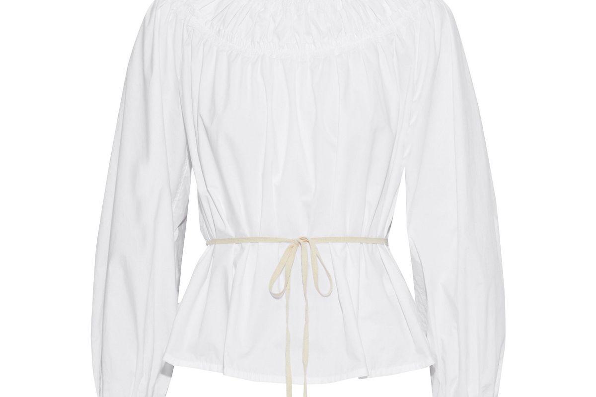 proenza shouler ruffle trimmed shirred cotton poplin blouse