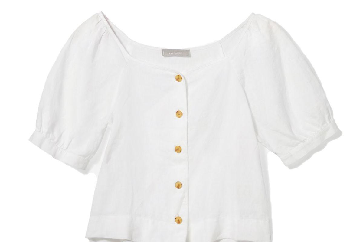 everlane the linen puff sleeve top