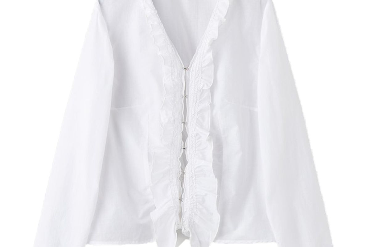 our legacy oma ruffle top white air poplin