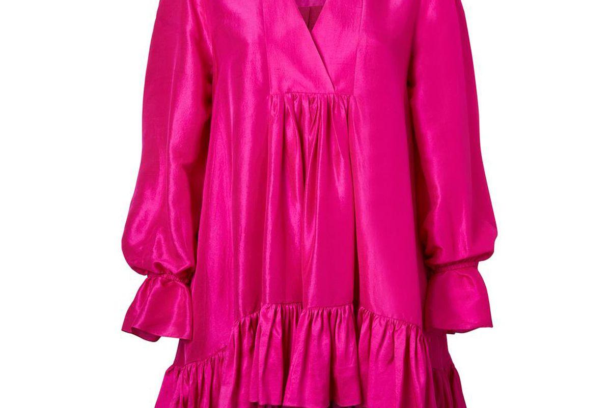 azeeza raw silk thistle dress