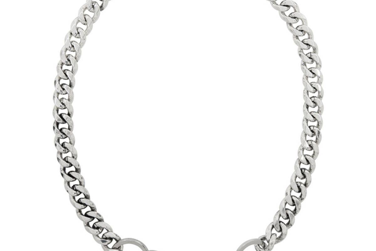 martine ali silver cuban wallet chain necklace