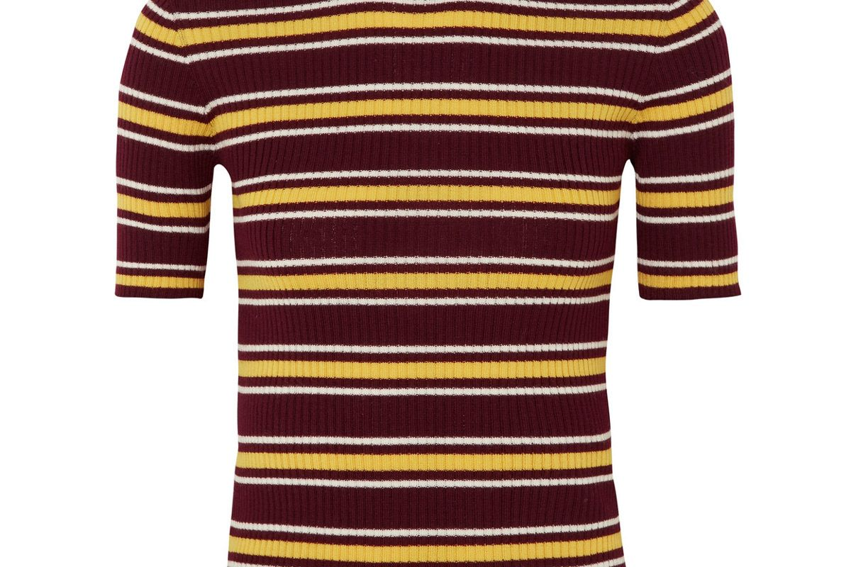 miu miu striped ribbed wool sweater