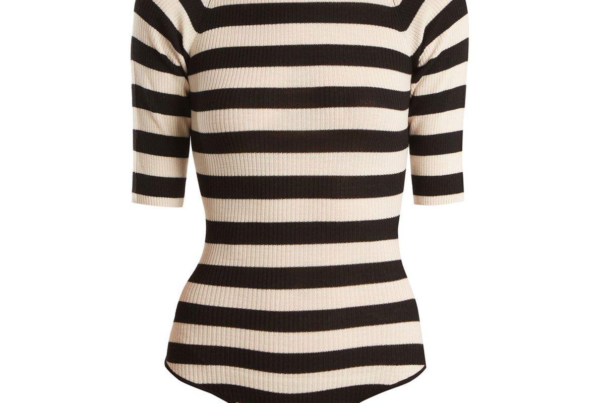 khaite constance ribbed-knit wool-blend bodysuit