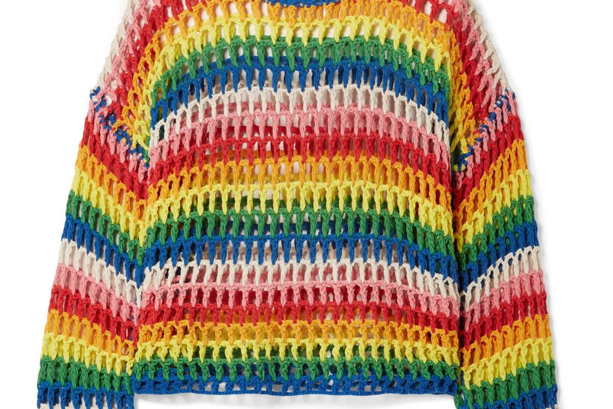 mira mikati striped crocheted cotton sweater