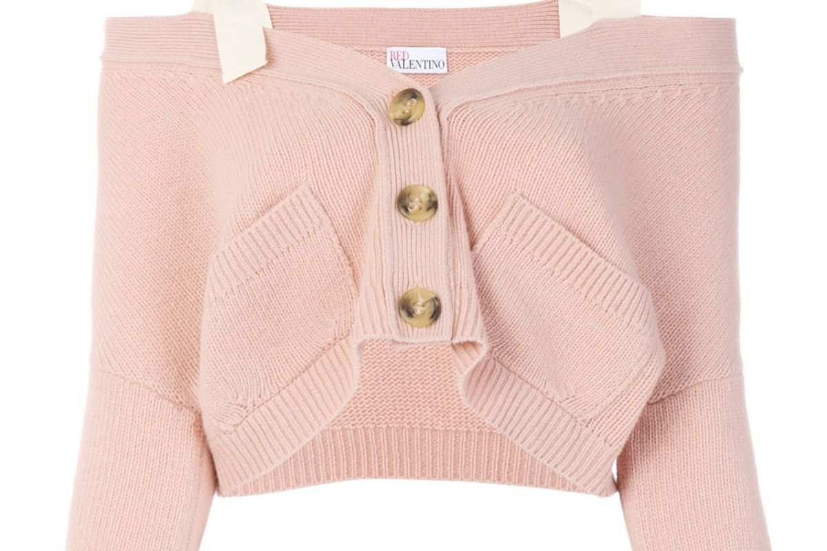 red valentino off the shoulder button cardigan