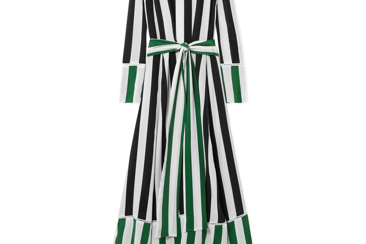 we are leone striped silk crepe de chine robe