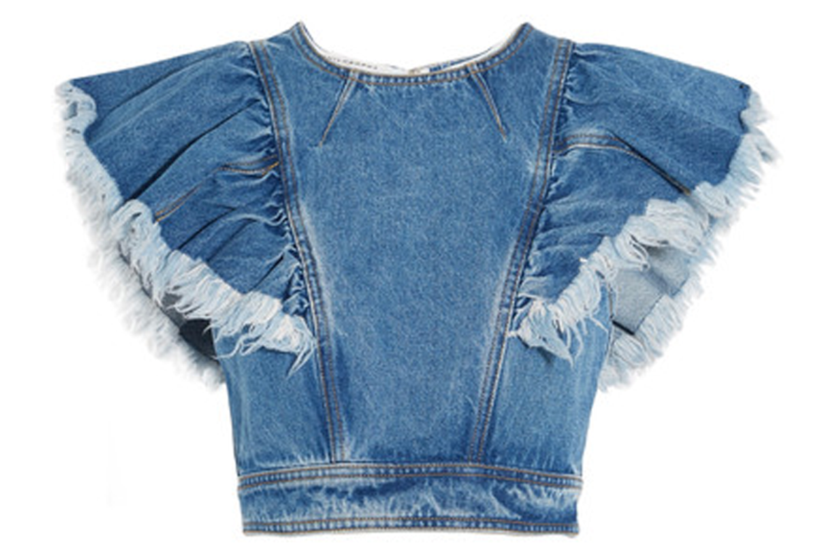 Cropped Ruffled Denim Top