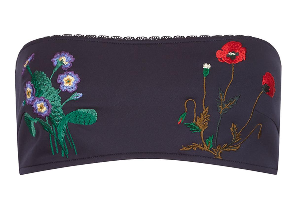 Navy Botanical Embroidery Bikini Top