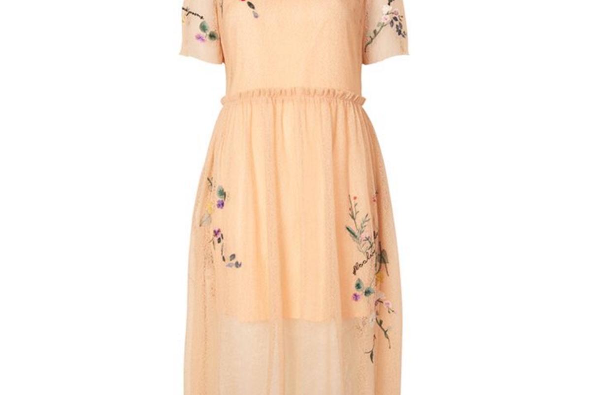 Embroidered Mesh Midi Dress
